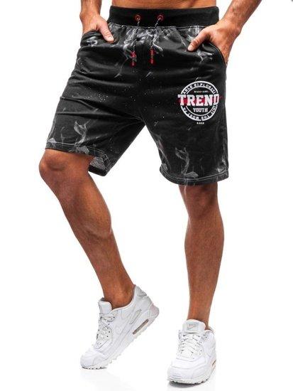 Krótkie spodenki dresowe męskie czarno-szare Denley 300111