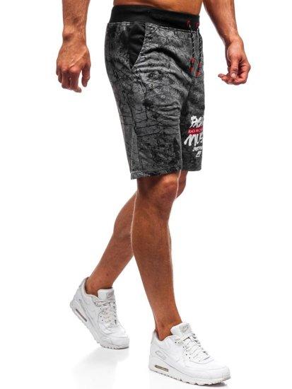 Krótkie spodenki dresowe męskie grafitowe Denley 300105