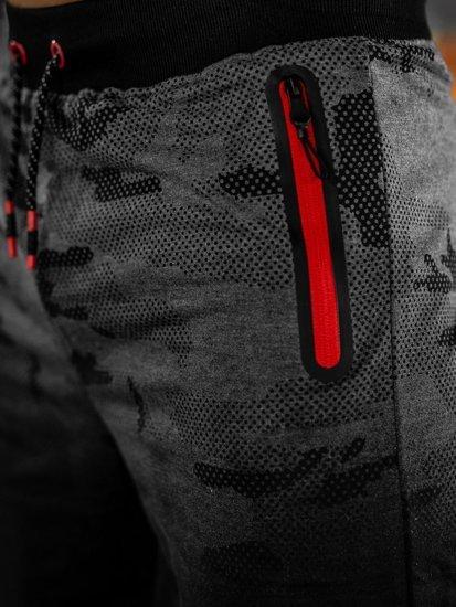 Krótkie spodenki dresowe męskie grafitowe Denley KK213