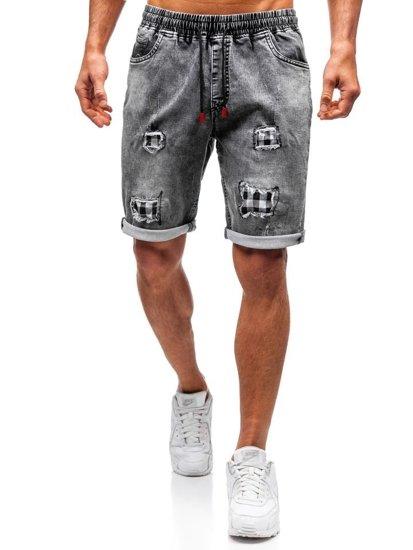 Krótkie spodenki jeansowe męskie czarne Denley HY328