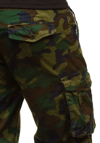 Krótkie spodenki męskie moro-zielone Denley 7010