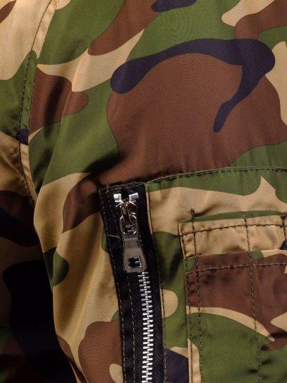 Kurtka męska przejściowa bomberka moro-zielona Denley 4372