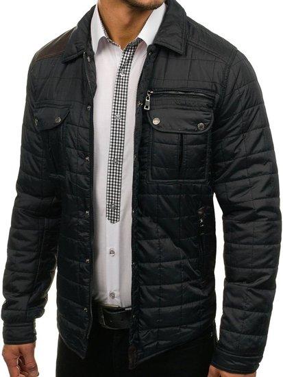 Kurtka męska przejściowa elegancka czarna Denley 7668