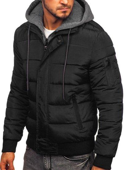 Kurtka męska przejściowa sportowa pikowana czarna Denley JK386