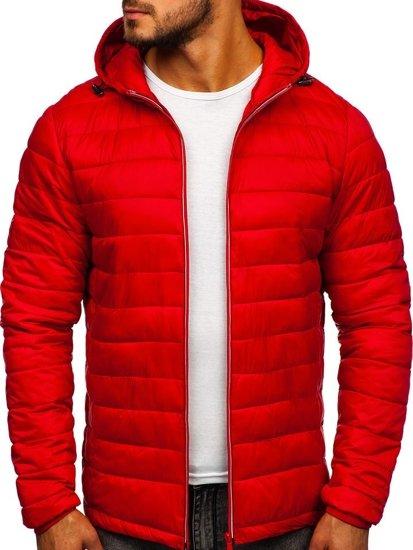 Kurtka męska przejściowa sportowa pikowana czerwona Denley LY1018