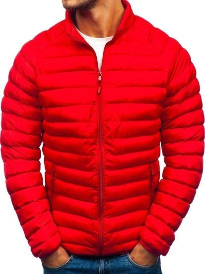 Kurtka męska przejściowa sportowa pikowana czerwona Denley SM53