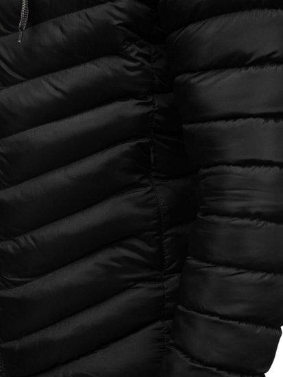 Kurtka męska przejściowa z kapturem sportowa czarna Denley SM08