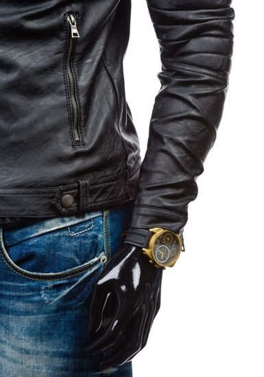 Kurtka męska skórzana czarna Denley 9112