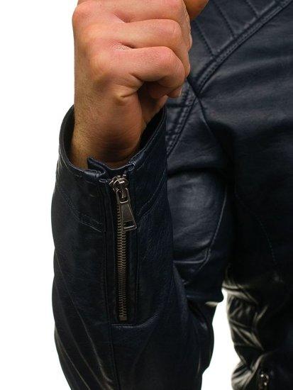 Kurtka męska skórzana granatowa Denley 8816