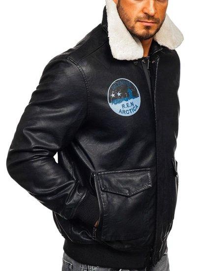 Kurtka męska skórzana pilotka czarna Denley 4794