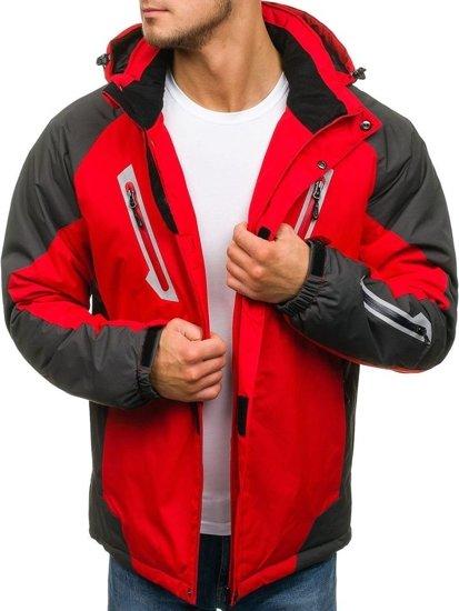Kurtka męska zimowa narciarska czerwona Denley F809