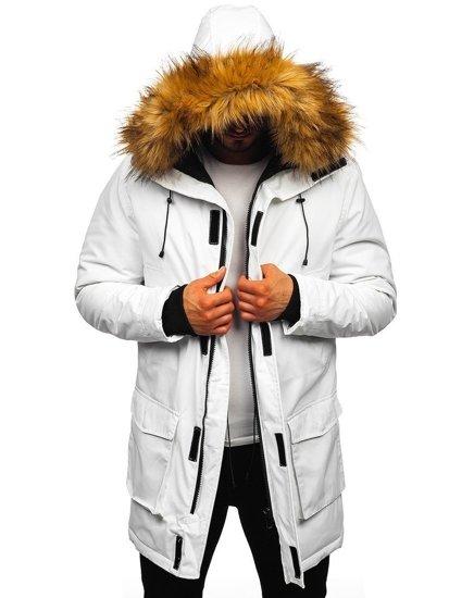Kurtka męska zimowa parka biała Denley 201902