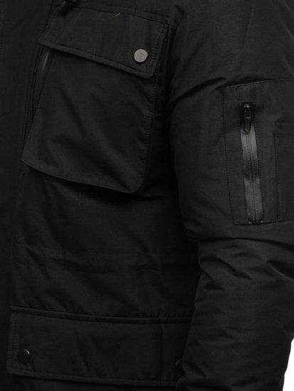 Kurtka męska zimowa parka czarna Denley 201803