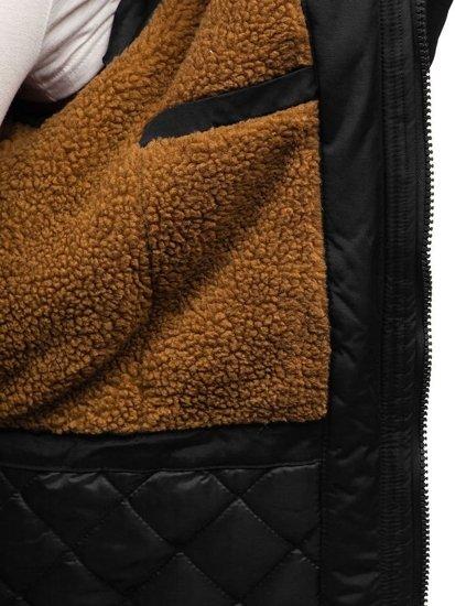 Kurtka męska zimowa parka czarna Denley R102