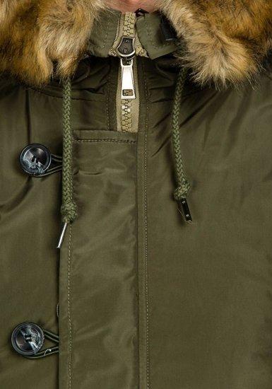 Kurtka męska zimowa parka zielona Denley 1045C