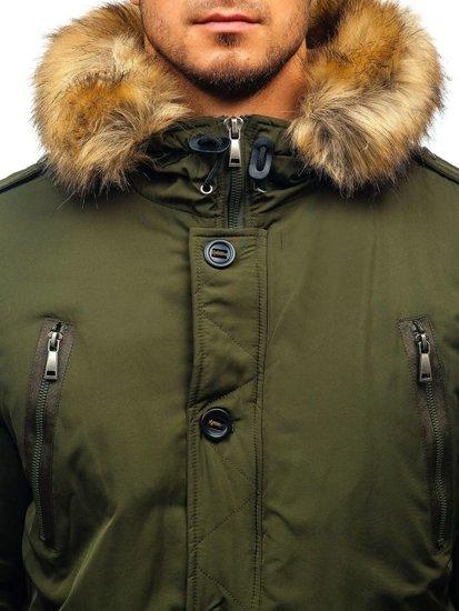 Kurtka męska zimowa parka zielona Denley 1072