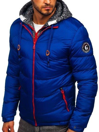 Kurtka męska zimowa sportowa pikowana niebieska Denley 50A155