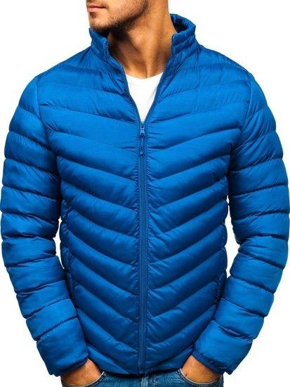Kurtka męska zimowa z kapturem sportowa niebieska Denley SM08