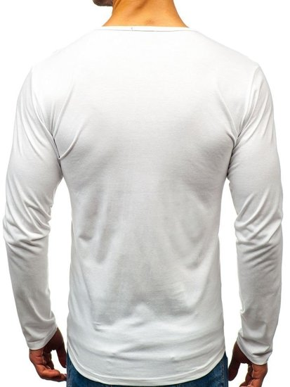 Longsleeve męski bez nadruku biały Denley 5549