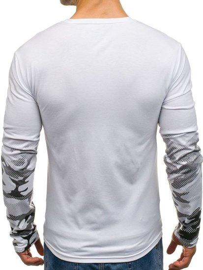 Longsleeve męski z nadrukiem biały Denley SX051