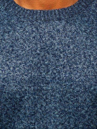 Niebieski ocieplany sweter męski Denley 7M117