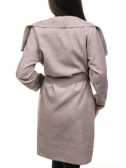 Płaszcz długi damski ecru Denley 1729