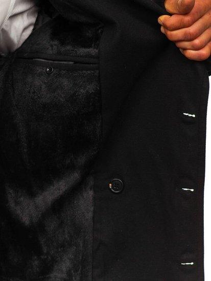 Płaszcz dwurzędowy męski zimowy czarny z wysokim kołnierzem Denley 1048