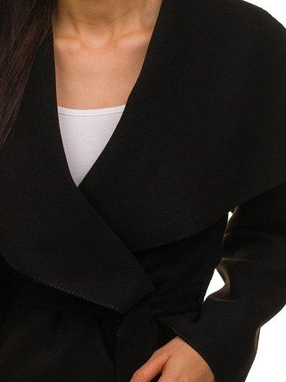 Płaszcz krótki damski czarny Denley 1726