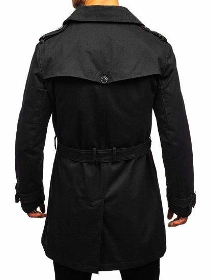 Płaszcz męski trencz czarny Denley 5710