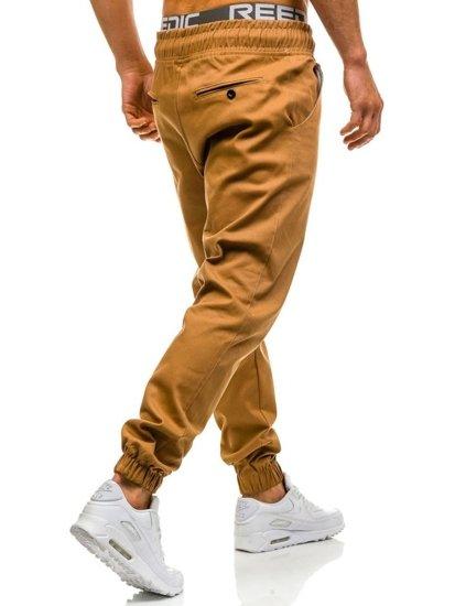 Spodnie baggy męskie camelowe Denley 0399