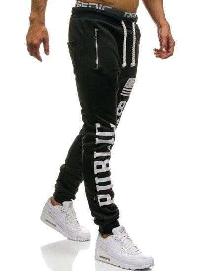Spodnie baggy męskie czarne Denley 871