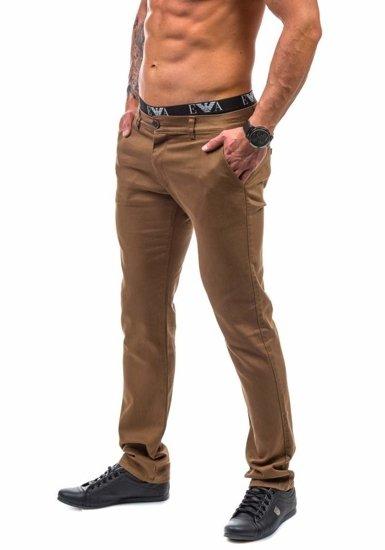Spodnie chinosy męskie brązowe Denley 1562-1