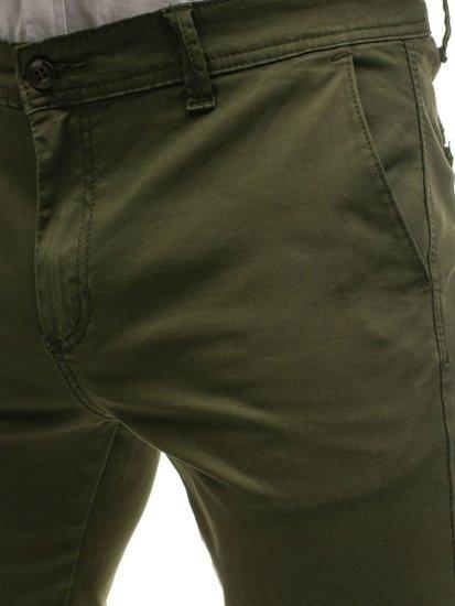 Spodnie chinosy męskie zielone Denley 6807