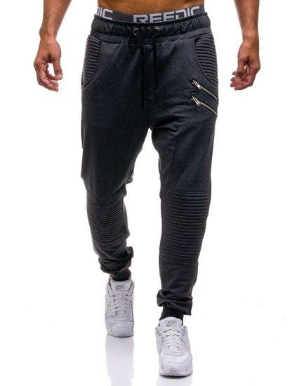 Spodnie dresowe baggy męskie antracytowe Denley 0476
