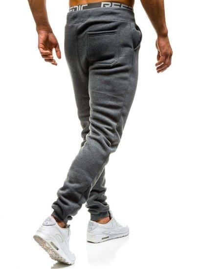Spodnie dresowe baggy męskie grafitowe Denley x065