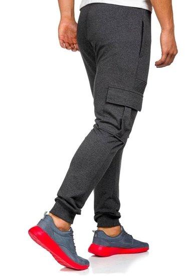 Spodnie dresowe bojówki męskie antracytowe Denley 0485