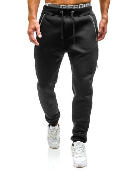 Spodnie dresowe joggery męskie czarne Denley x060