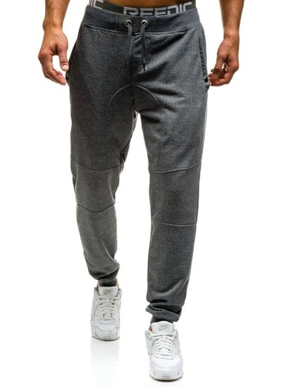 Spodnie dresowe joggery męskie szare Denley 7002
