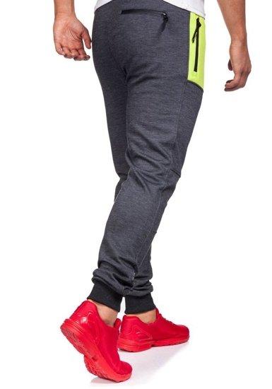 Spodnie dresowe męskie antracytowo-czarne Denley 3722