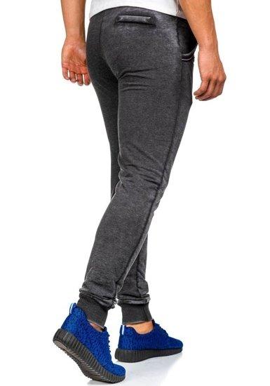 Spodnie dresowe męskie czarne Denley 5284