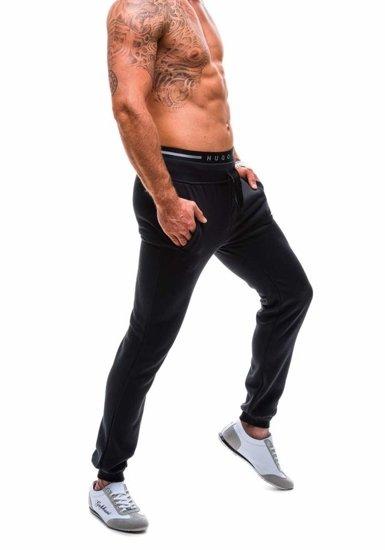 Spodnie dresowe męskie czarne Denley ak70-2