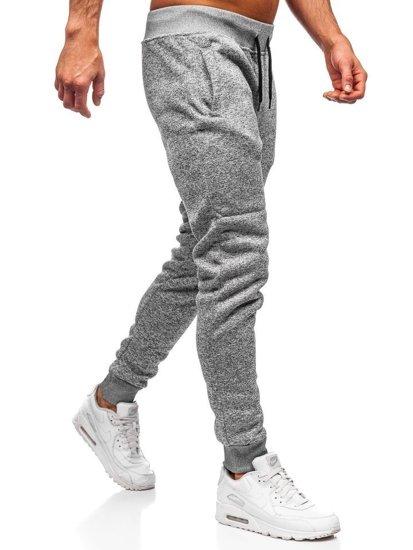 Spodnie dresowe męskie jasnoszare Denley KS1943