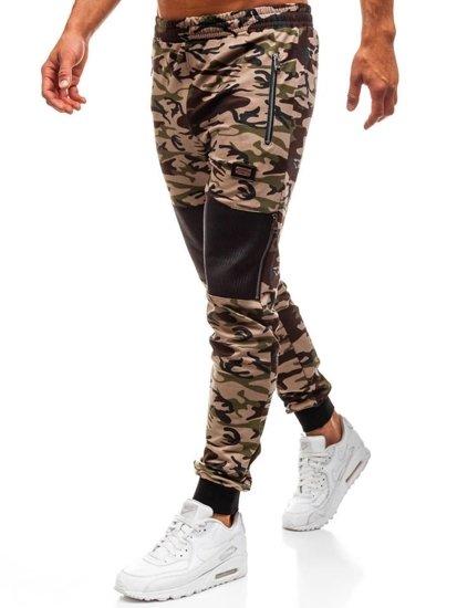 Spodnie dresowe męskie moro-brązowe Denley 170