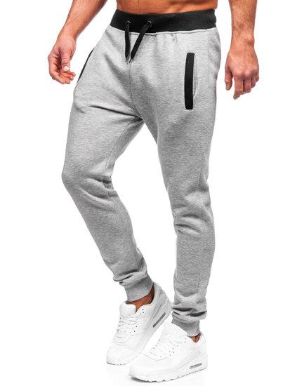 Spodnie dresowe męskie szare Denley AK13
