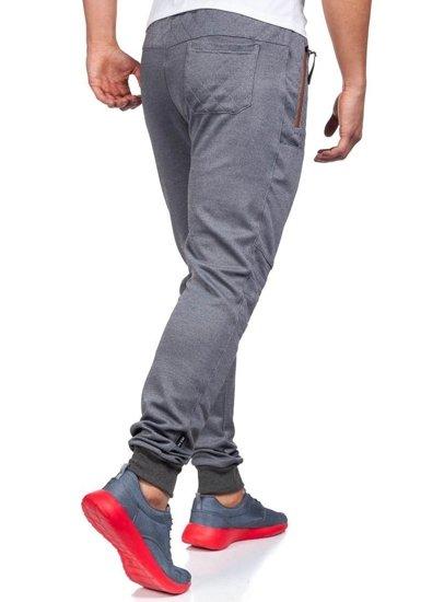 Spodnie dresowe męskie szaro-brązowe Denley 3724