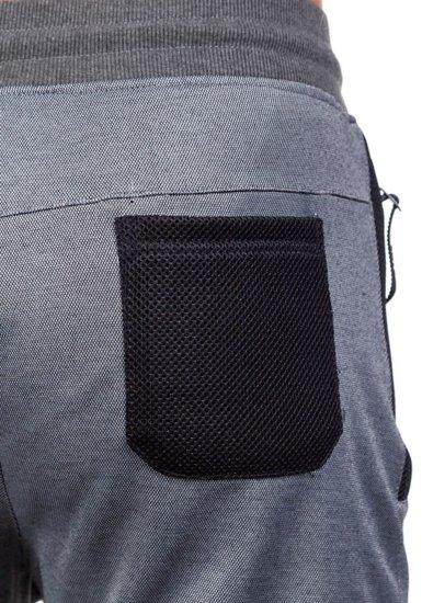 Spodnie dresowe męskie szaro-brązowe Denley 3741