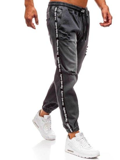 Spodnie jeansowe baggy męskie antracytowe  Denley 2045