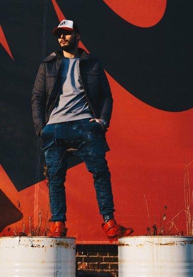 Spodnie jeansowe baggy męskie granatowo-szare Denley 191