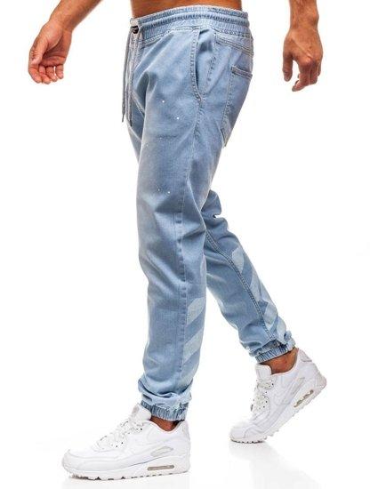 Spodnie jeansowe baggy męskie jasnoniebieskie Denley 2040