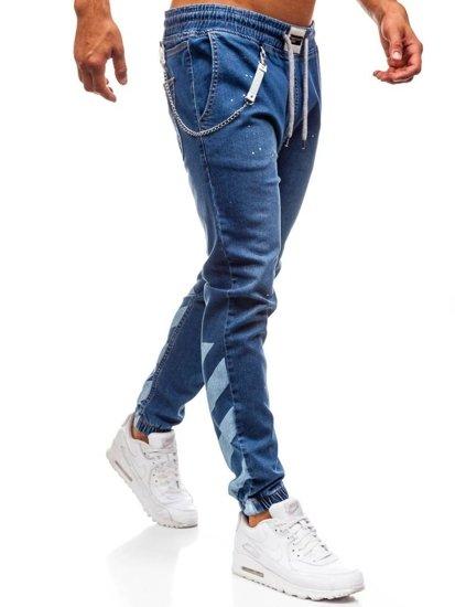 Spodnie jeansowe baggy męskie niebieskie Denley 2040